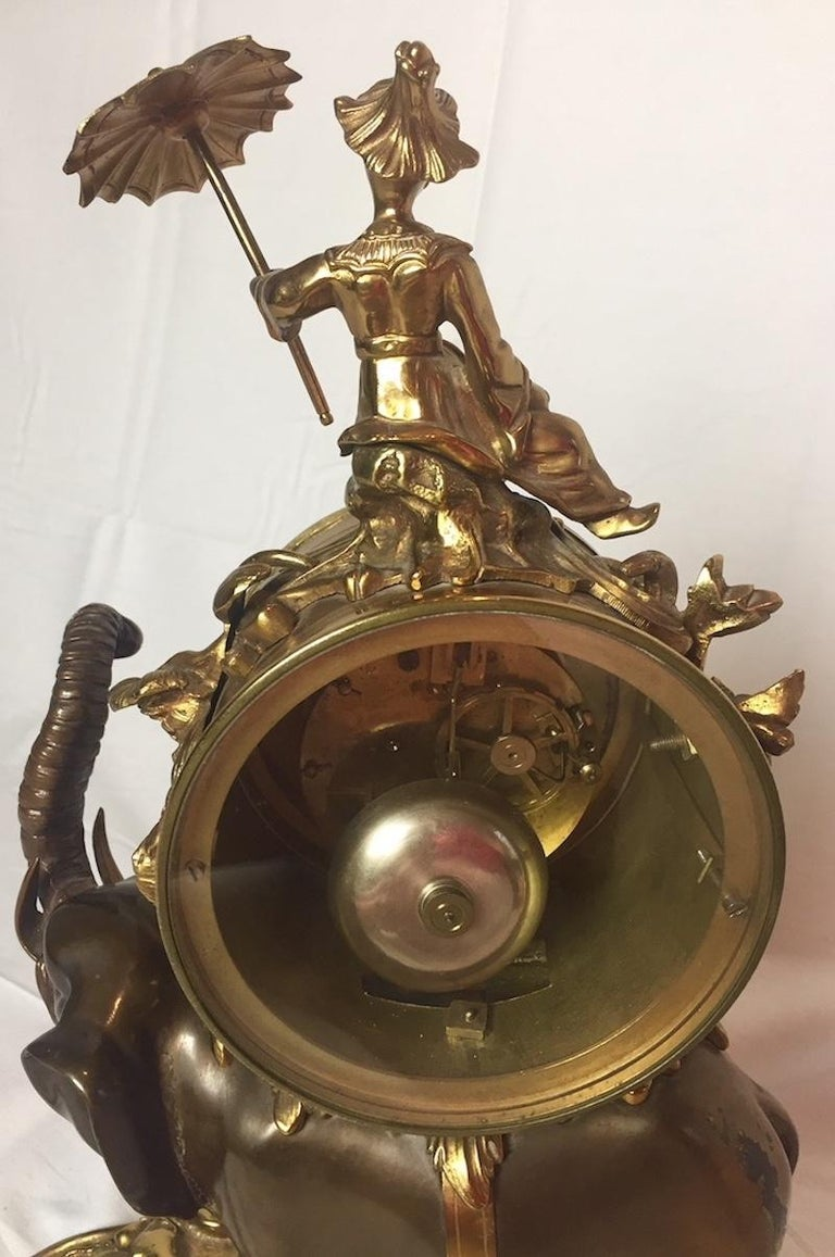 French Ormolu and Bronze Elephant Chinoiserie Clock For Sale 2