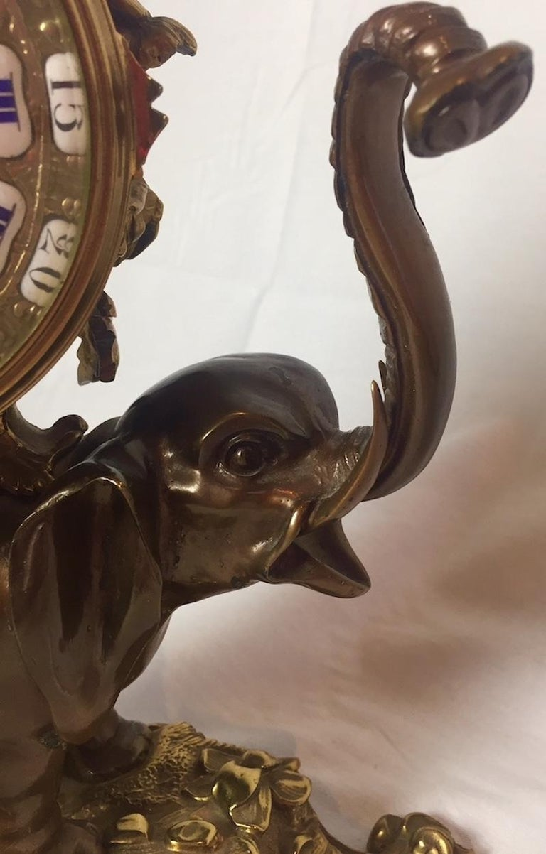 French Ormolu and Bronze Elephant Chinoiserie Clock For Sale 3