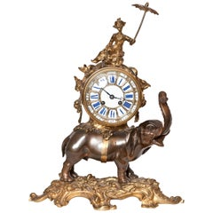 French Ormolu and Bronze Elephant Chinoiserie Clock