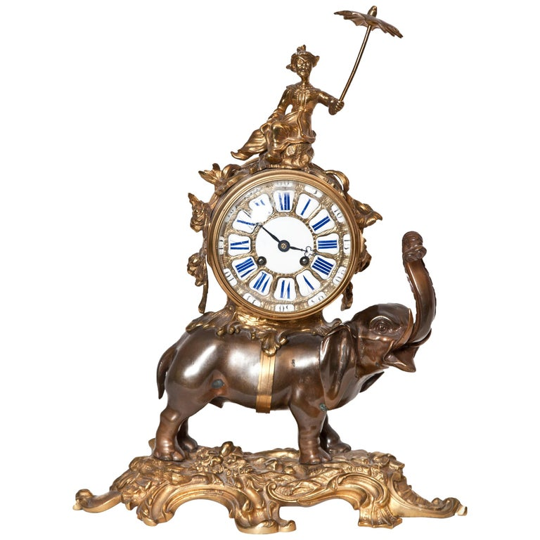 French Ormolu and Bronze Elephant Chinoiserie Clock For Sale