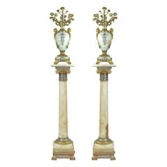 French Ormolu and Champlevé Enamel-Mounted Onyx Torchères