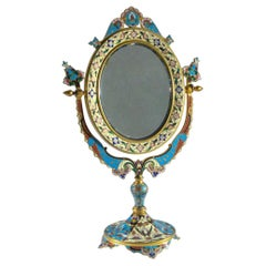 French Ormolu and Champlevé Enamel Oval Dressing Table Mirror