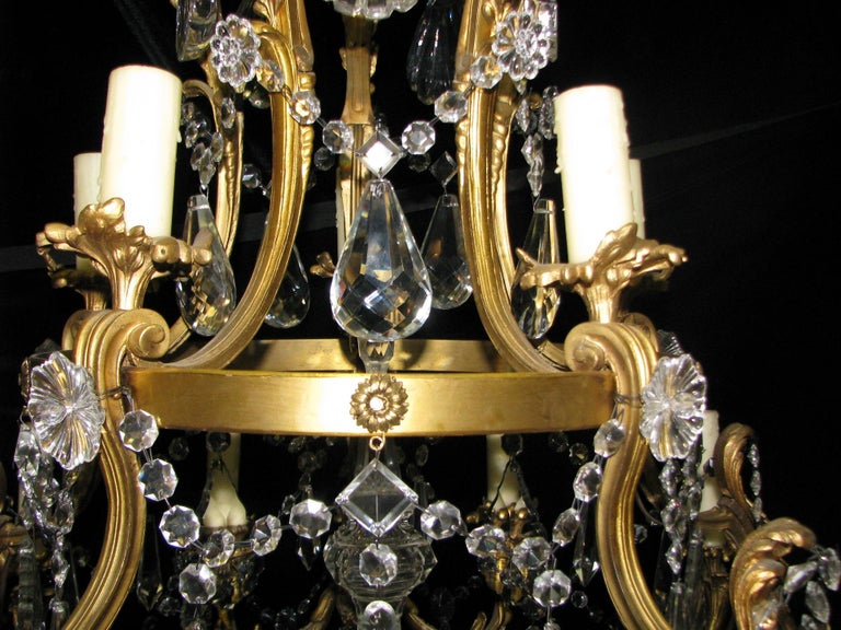 French Ormolu and Cut Crystal Chandelier, 19th Century For Sale 2