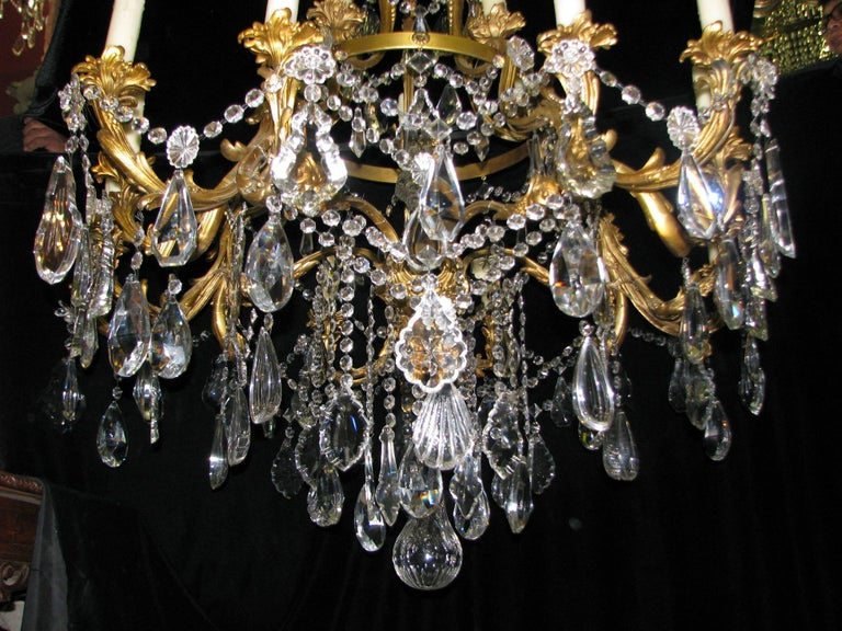 French Ormolu and Cut Crystal Chandelier, 19th Century For Sale 3