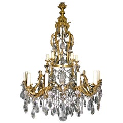 French Ormolu and Cut Crystal Chandelier, 19th Century