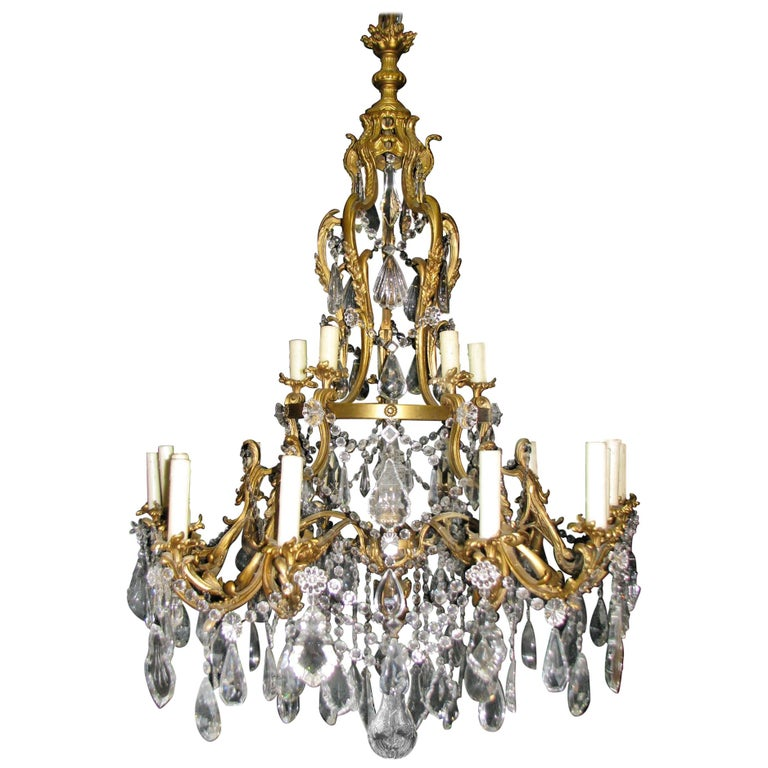French Ormolu and Cut Crystal Chandelier, 19th Century For Sale