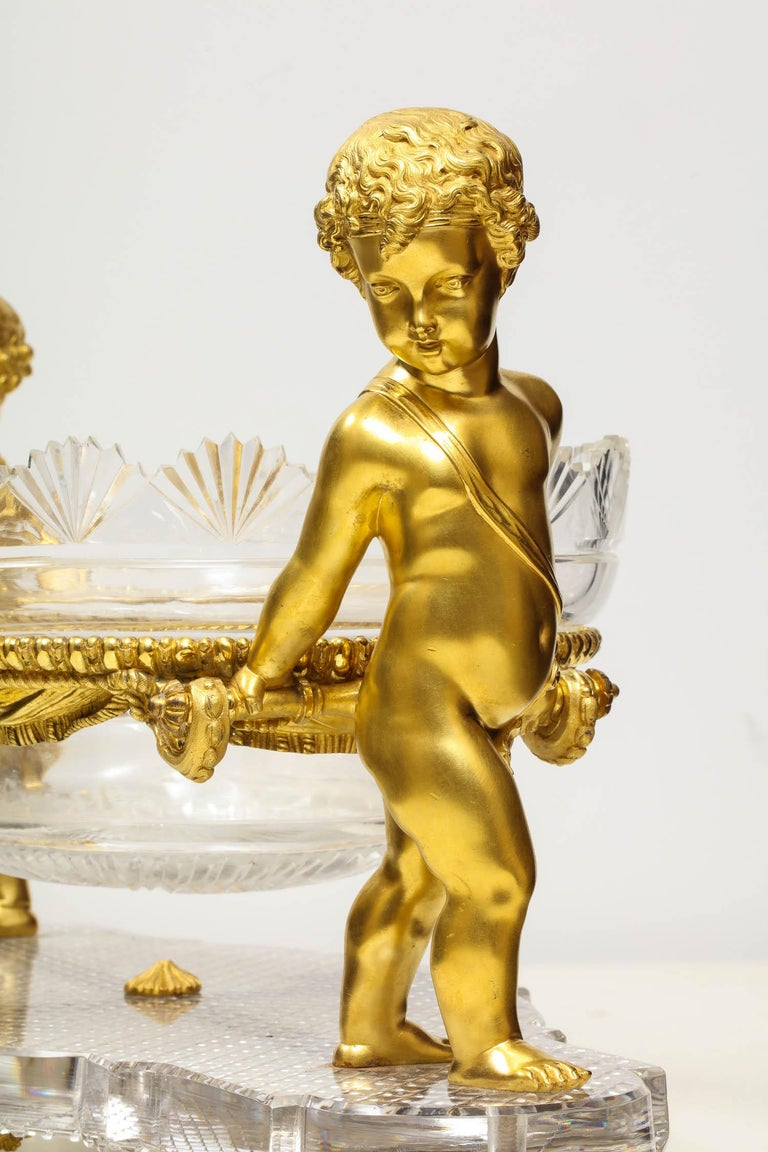 French Ormolu and Cut-Glass Centerpiece by Baccarat Paris, circa 1870 For Sale 8