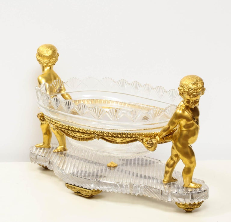 Napoleon III French Ormolu and Cut-Glass Centerpiece by Baccarat Paris, circa 1870 For Sale