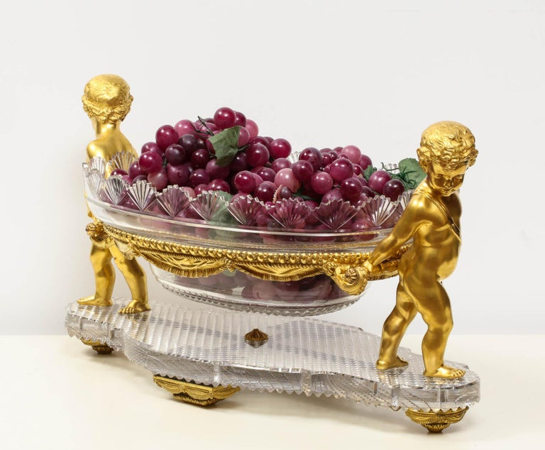 19th Century French Ormolu and Cut-Glass Centerpiece by Baccarat Paris, circa 1870 For Sale