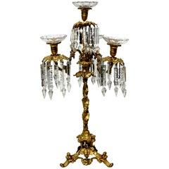 French Ormolu and Glass Candelabrum