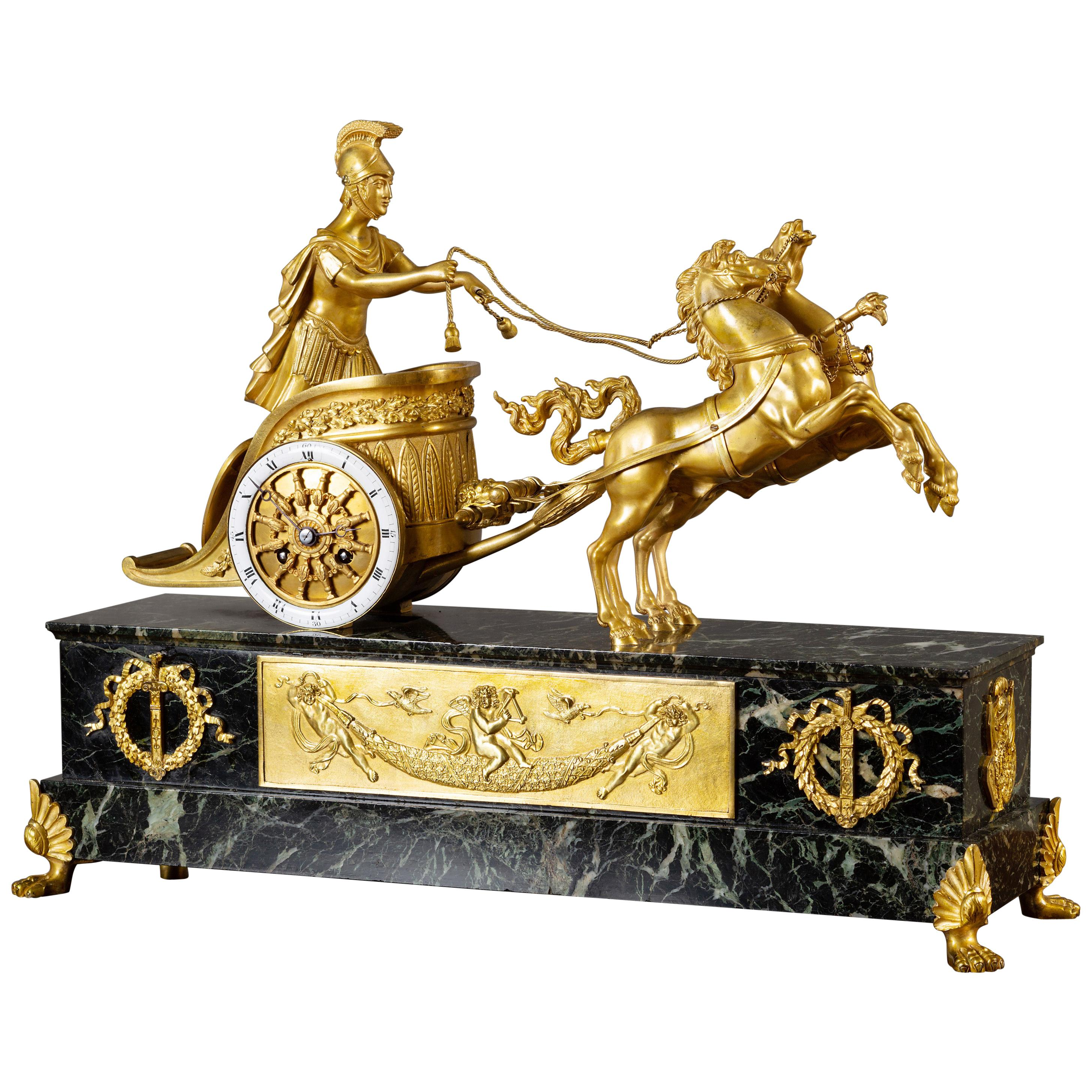 French Ormolu and Marble Chariot Mantel Clock by Vincenti