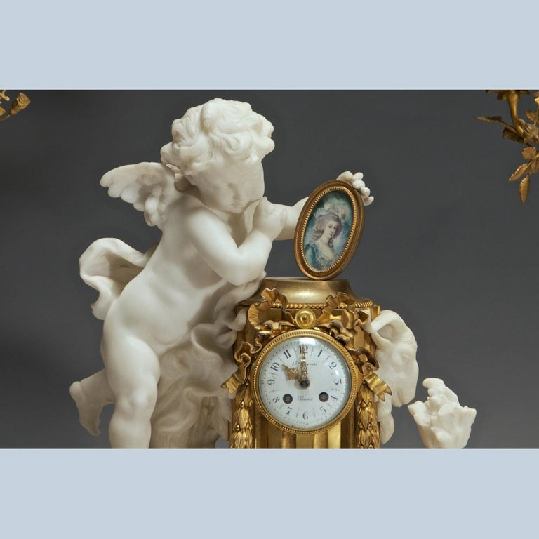 Gilt French Ormolu and Marble Clock Garniture For Sale