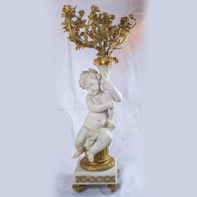 French Ormolu and Marble Clock Garniture In Good Condition For Sale In New York, NY
