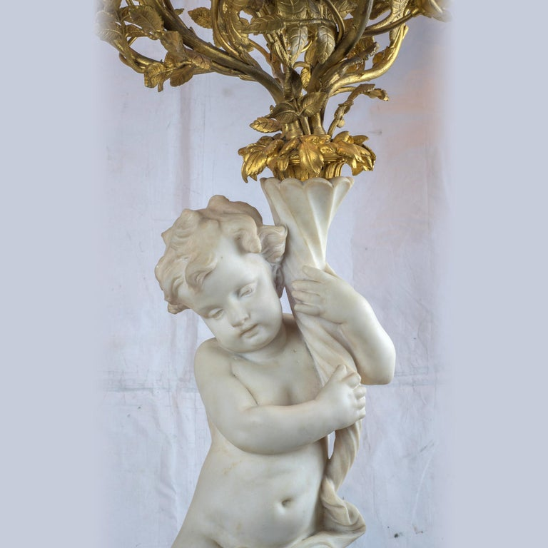 19th Century French Ormolu and Marble Clock Garniture For Sale