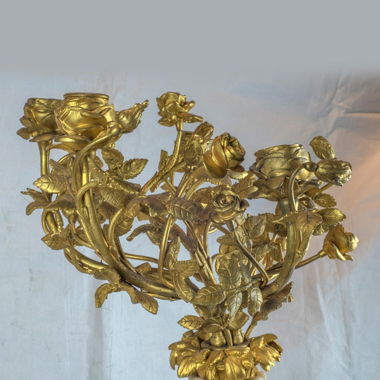 French Ormolu and Marble Clock Garniture For Sale 1