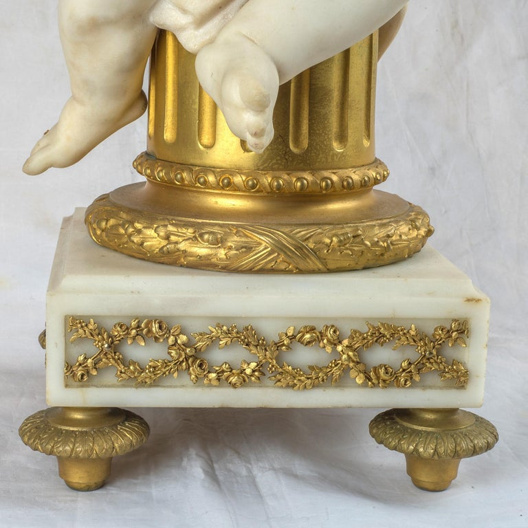 French Ormolu and Marble Clock Garniture For Sale 2