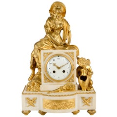 French Ormolu and Marble Louis XVI Style Mantel Clock