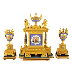 Fine 19th Century Second Empire French Ormolu and Porcelain Clock Garniture