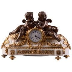 French Ormolu and White Marble Clock, Napoleon III