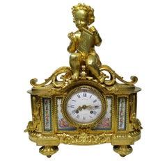 French Ormolu Bronze Sèvres Porcelain Mantle Clock Vincenti et Cie, Paris