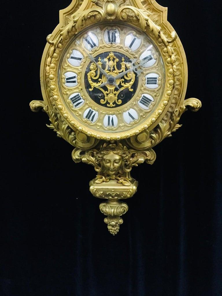 Enamel French Ormolu Cartel Clock, 19th Century by H&F Paris For Sale