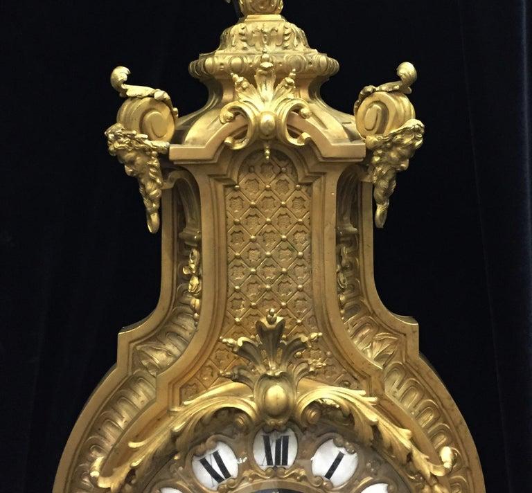 French Ormolu Cartel Clock, 19th Century by H&F Paris For Sale 1