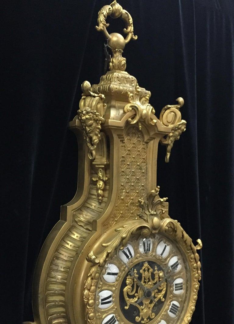 French Ormolu Cartel Clock, 19th Century by H&F Paris For Sale 3
