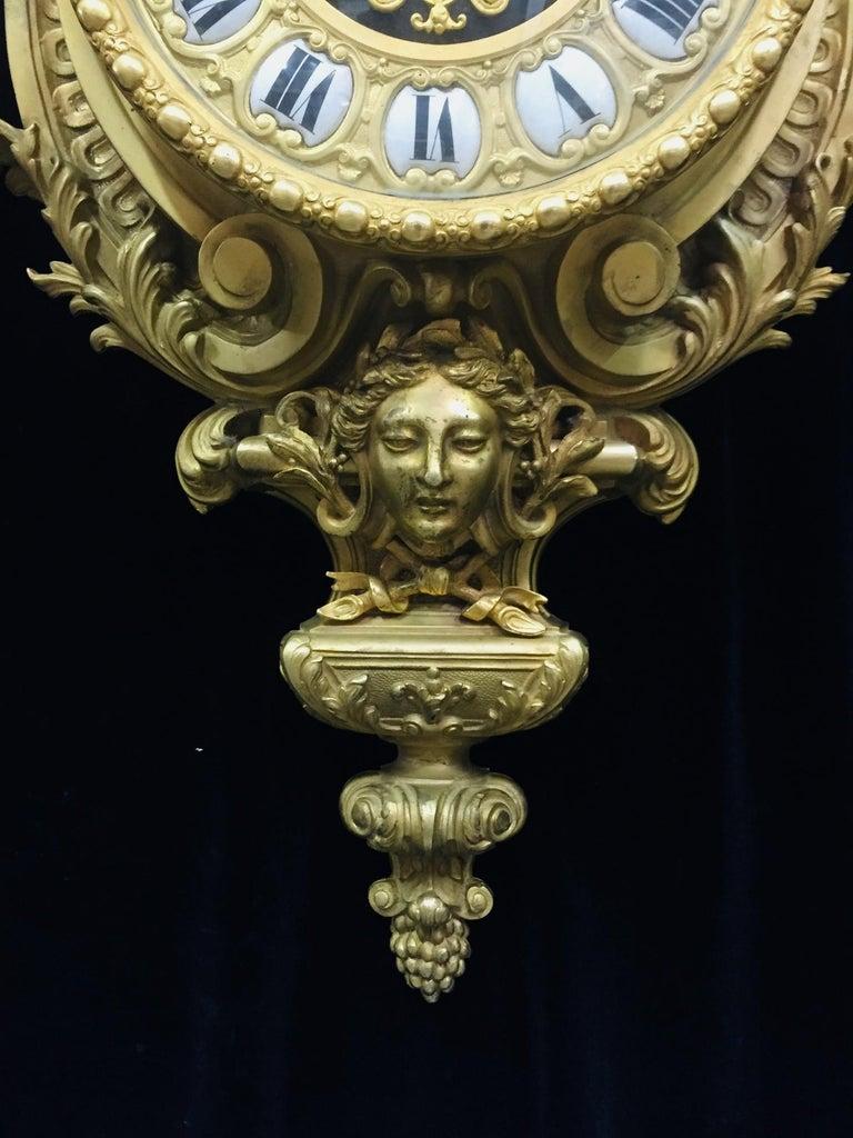 French Ormolu Cartel Clock, 19th Century by H&F Paris For Sale 4