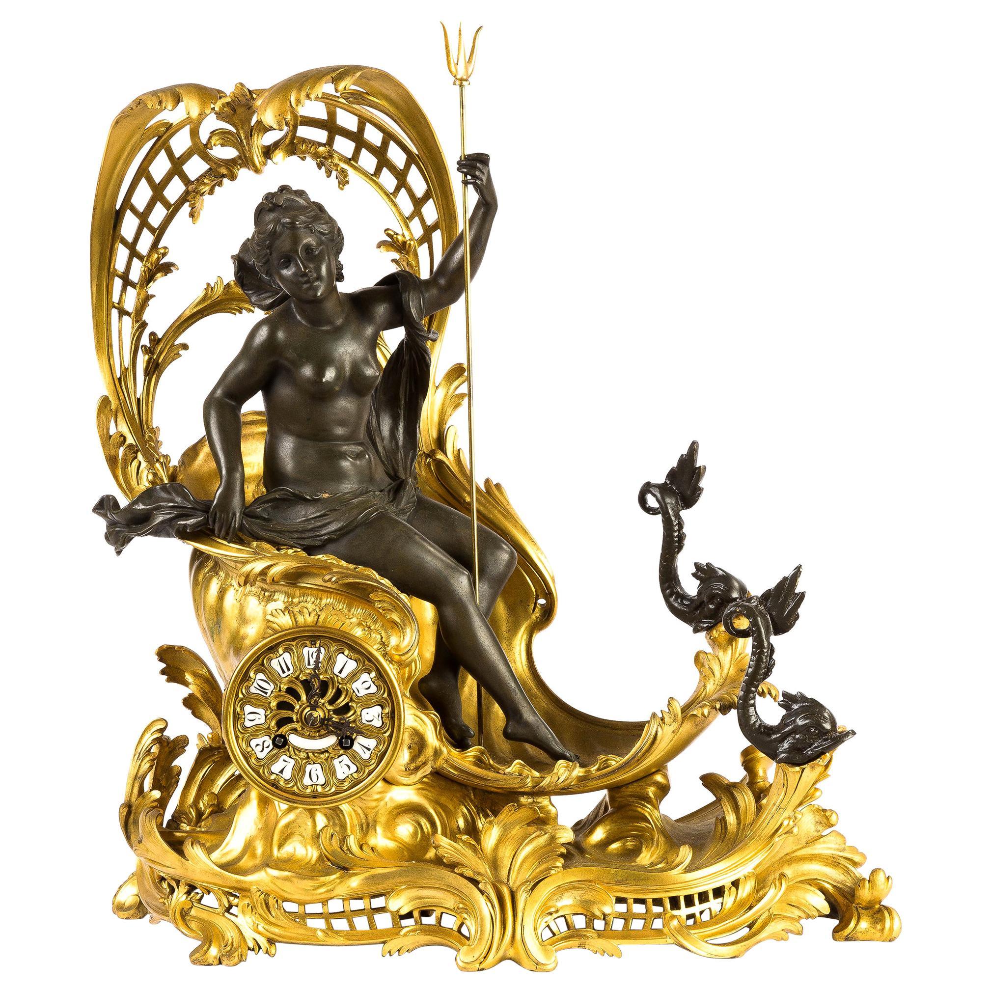 French Ormolu Figural Mantel Clock Depicting Amphitrite's Chariot