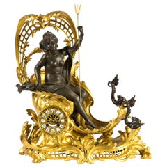 French Ormolu Figural Mantel Clock Depicting Amphitrite's Chariot
