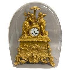 French Ormolu Figural Mantel Clock with Glass Dome, circa 1820