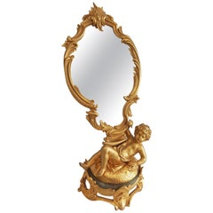 French Ormolu Figural Mirror signed August Moreau