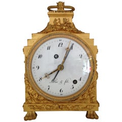 French Ormolu Grande Sonnerie Pendule D'officier with Alarm, Late 18th Century