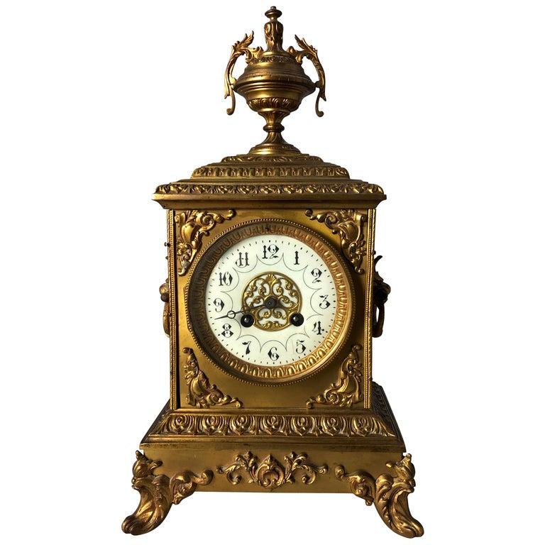 French Ormolu Mantel Clock, 19th Century For Sale