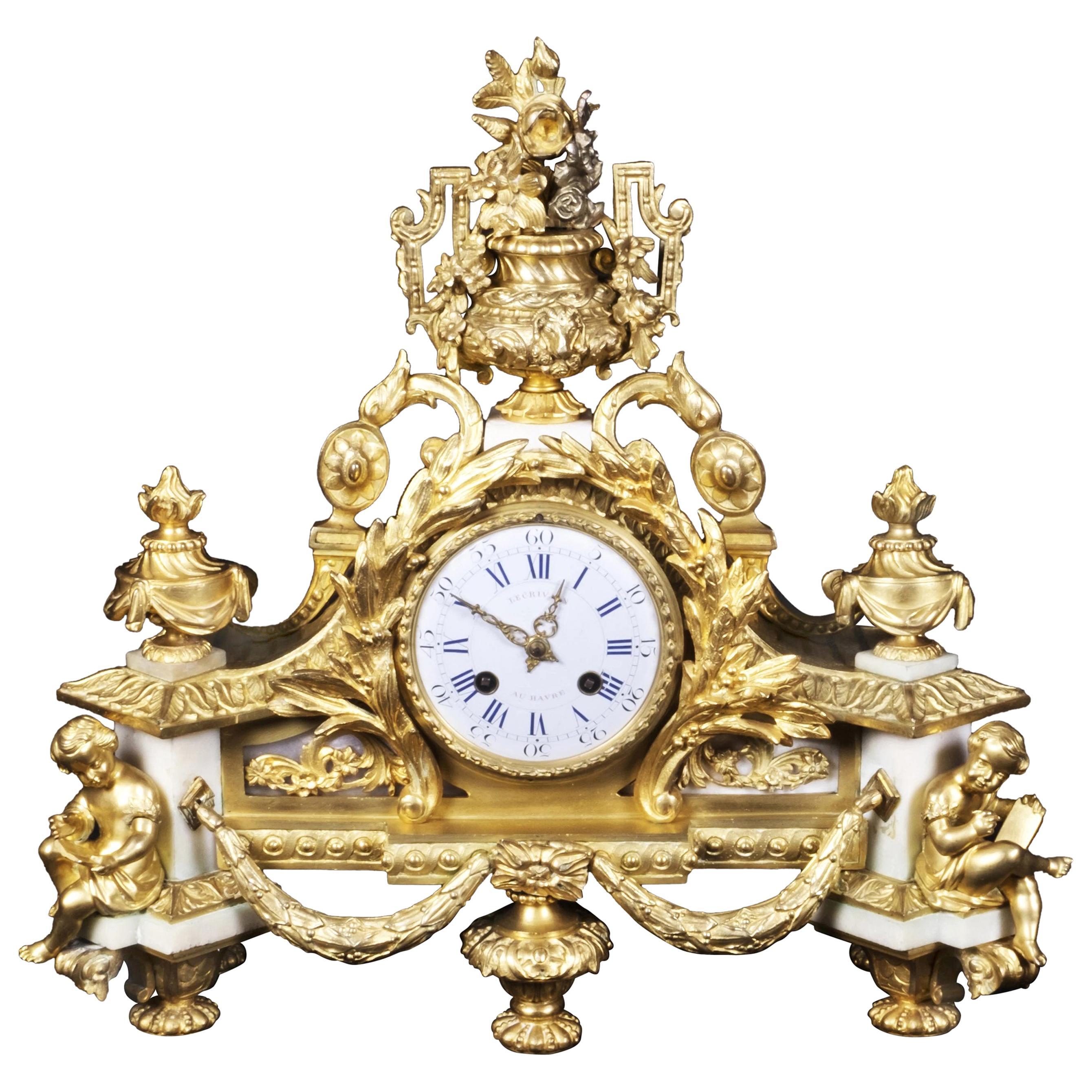 French Ormolu Mantel Clock France, Mid-Late 19th Century