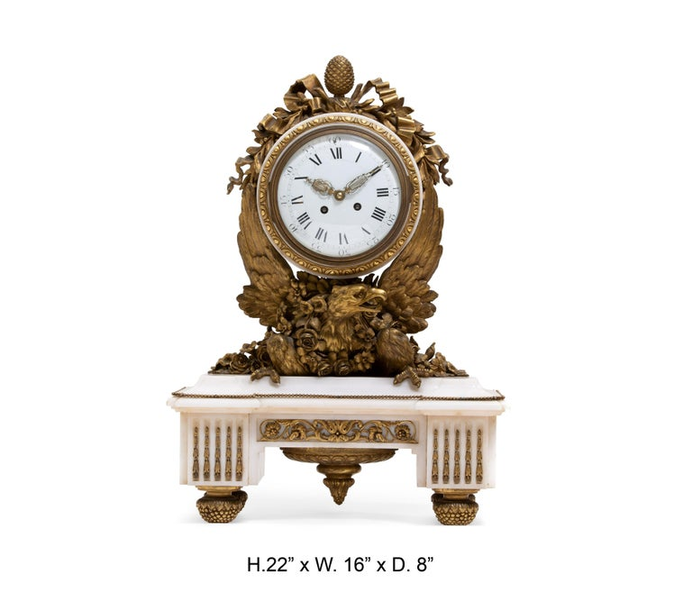 French Ormolu Marble Mantel Clock, 19th Century For Sale 8