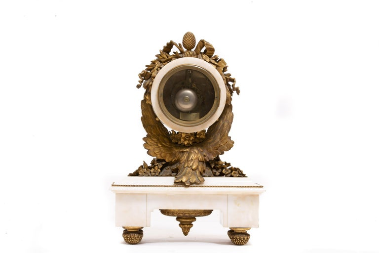 French Ormolu Marble Mantel Clock, 19th Century For Sale 9