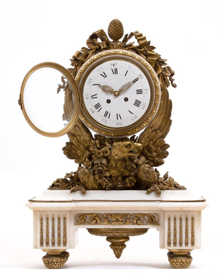 French Ormolu Marble Mantel Clock, 19th Century For Sale 10