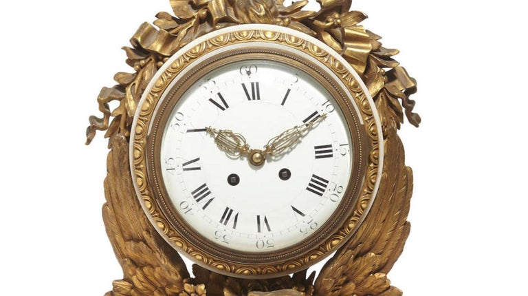 Louis XVI French Ormolu Marble Mantel Clock, 19th Century For Sale