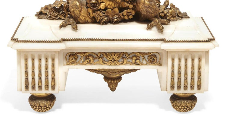 French Ormolu Marble Mantel Clock, 19th Century In Good Condition For Sale In Cypress, CA