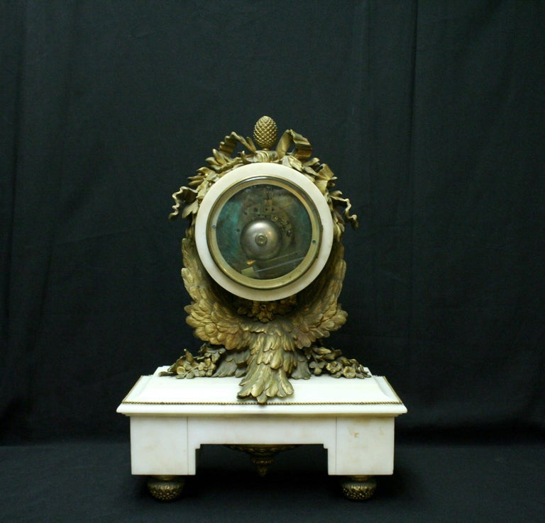 French Ormolu Marble Mantel Clock, 19th Century For Sale 1