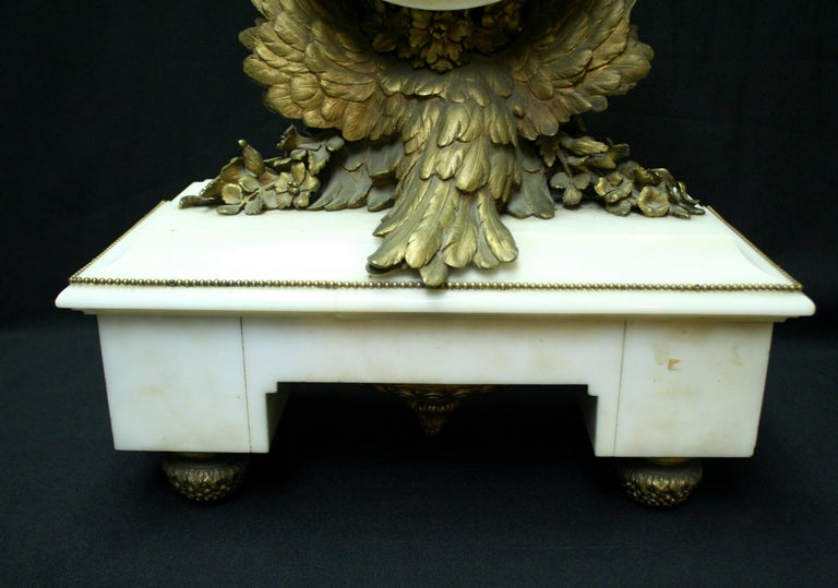 French Ormolu Marble Mantel Clock, 19th Century For Sale 2