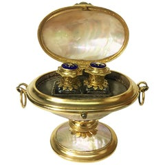 French Ormolu Mother of Pearl Egg Shaped Enamel Perfume Bottles in Box