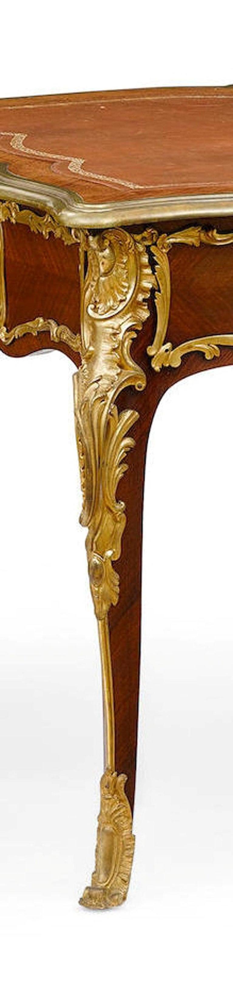 French Ormolu Mounted Bureau Plat Partner's Desk, 19th Century For Sale 4