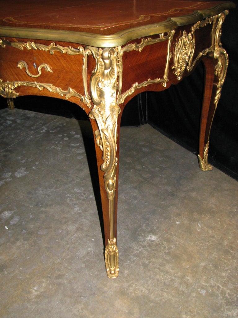 French Ormolu Mounted Bureau Plat Partner's Desk, 19th Century For Sale 7