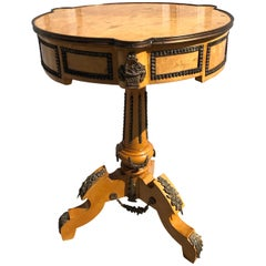 French Ormolu Mounted Centre Table, Burled Birds Eye Maple