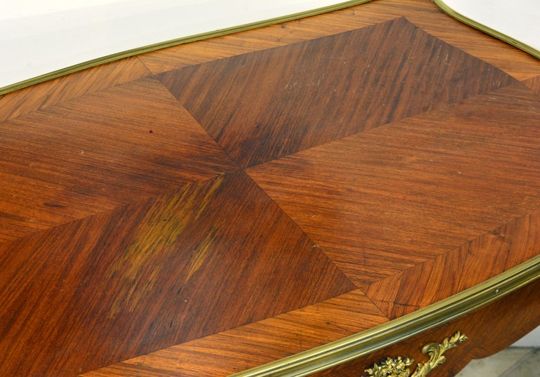 French Ormolu Mounted Louis XV Style Parquetry Table with Concealed Drawer For Sale 5