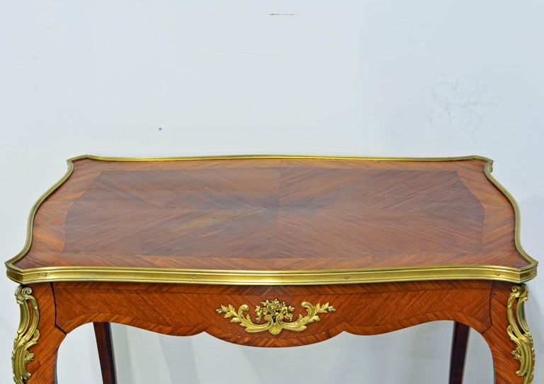 19th Century French Ormolu Mounted Louis XV Style Parquetry Table with Concealed Drawer For Sale