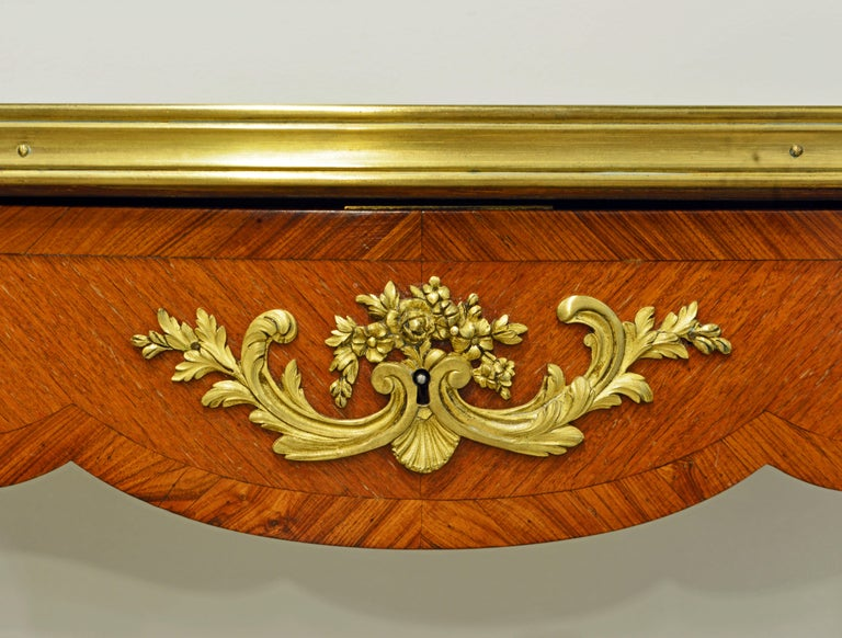 French Ormolu Mounted Louis XV Style Parquetry Table with Concealed Drawer For Sale 2