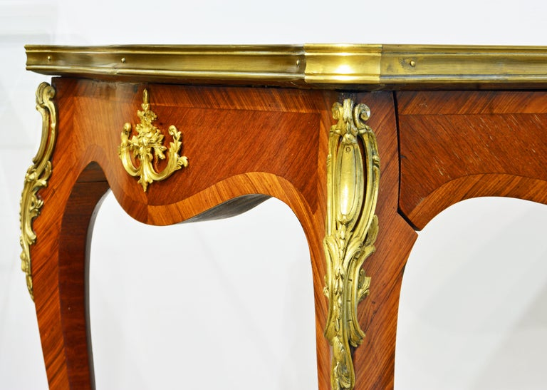 French Ormolu Mounted Louis XV Style Parquetry Table with Concealed Drawer For Sale 3